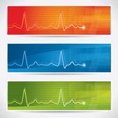 Vector cardiogram banner set