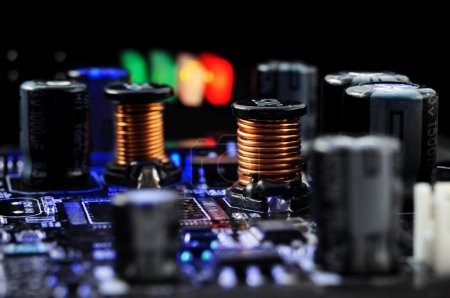 Electronic components on the printed-circuit board close-up