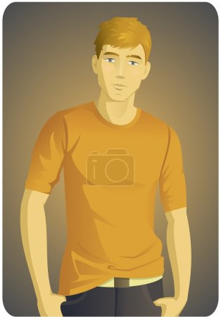Illustration for Illustration of a stylish man in orange t-shirt - Royalty Free Image