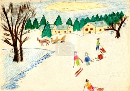 Photo pour Une vieille photo de dessin à la main par un enfant - scène hivernale rustique - image libre de droit