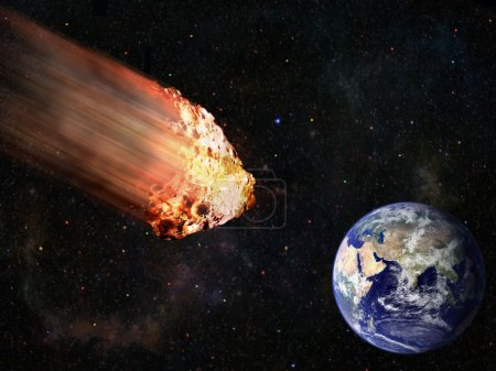 Flaming asteroid hitting earth
