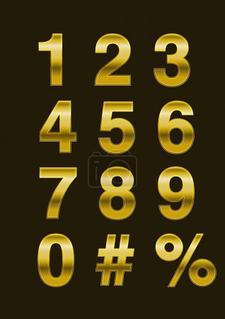 Illustration for Vector Golden Numbers simple and elegant - Royalty Free Image
