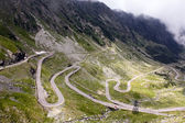 View with adventurous road and valley in Transfagarasan