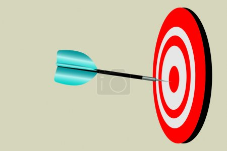 Illustration for Graphic illustration of dart smack in the center of the board. - Royalty Free Image