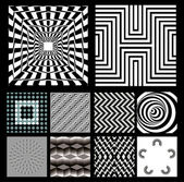 Optical illusion backgrounds vector line illustration Black-and-white new
