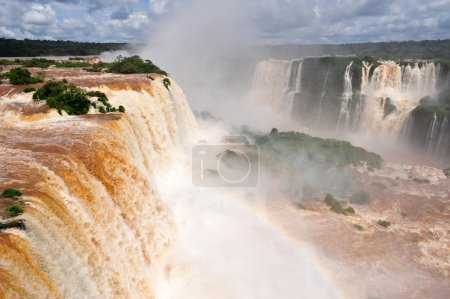 Photo for Iguazu waterfalls in Argentina, panoramic view with rainbow - Royalty Free Image