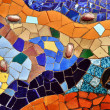 Detail of mosaic in Guell park in Barcelona Spain...