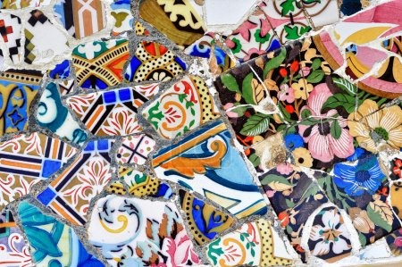 Part of Gaudi mosaic in Guell park in Barcelona, S...