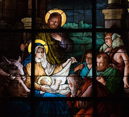 Photo for Stained glass window created by F. Zettler (1878-1911) at the German Church in Stockholm, depicting the Nativity Scene - Royalty Free Image