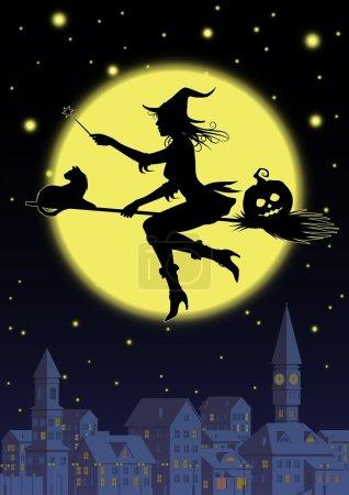 Illustration pour Silhouette sorcière sur fond une pleine lune au-dessus d'une ville - image libre de droit