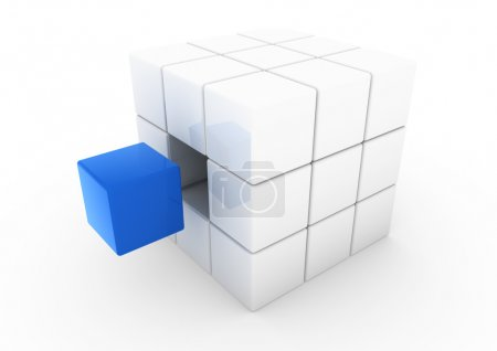 3d blue white business cube