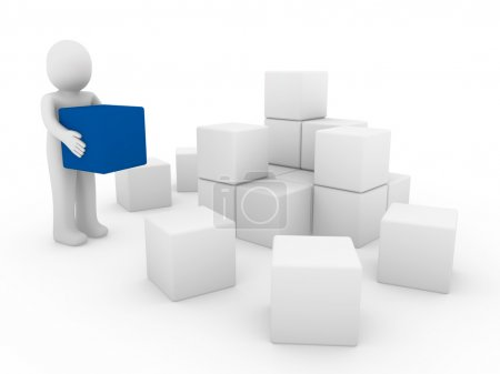 3d human cube box blue white