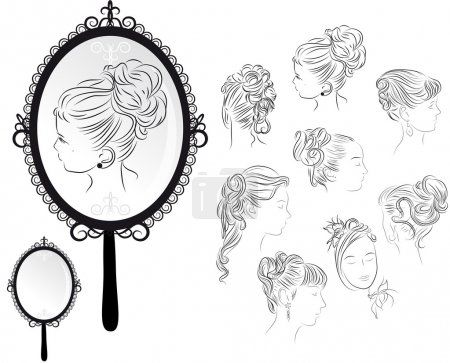 Illustration for Outline hand-drawing of several women's hairstyles, mirror - Royalty Free Image