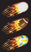 Vector sport balls in fire 02