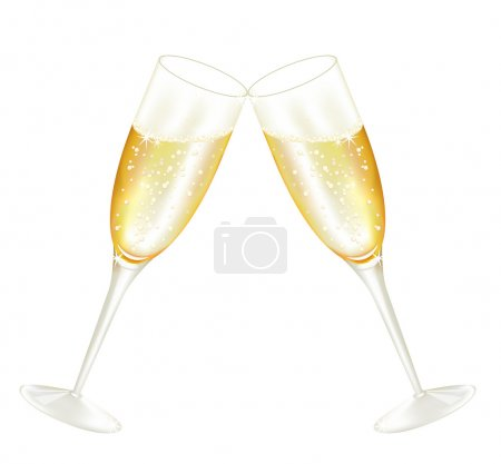 Illustration pour Deux verres de champagne, vecteur illustré - image libre de droit