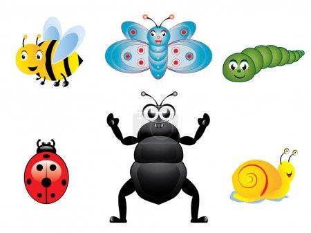 Illustration pour Diverses illustrations vectorielles de collection d'insectes heureux mignons . - image libre de droit