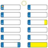 European license plates isolated on white