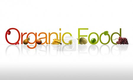 Photo for Organic Food graphic with fruits and vegetable ornaments. - Royalty Free Image