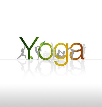 Photo pour Graphisme de yoga moderne à haute résolution avec poses corporelles . - image libre de droit