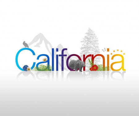 "Photo for High Resolution graphic of ""California"". - Royalty Free Image"
