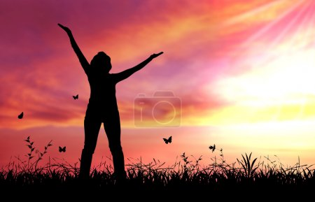 Photo for High resolution graphic of woman praising the lord. - Royalty Free Image