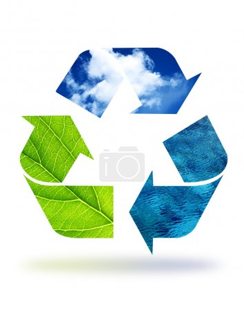 Photo for High resolution recycle graphic displaying earth elements. - Royalty Free Image