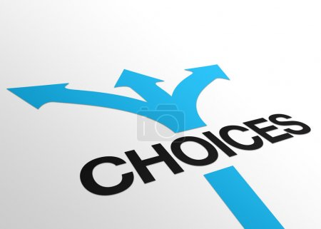 Photo for High resolution perspective graphic of the word choices. - Royalty Free Image