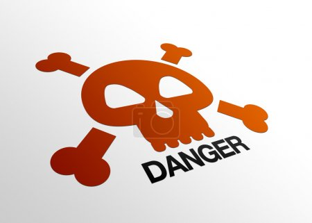 Photo pour Perspective haute résolution graphique d'un signe de danger avec crâne . - image libre de droit