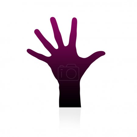 High resolution graphic of a hand silhouette on wh...