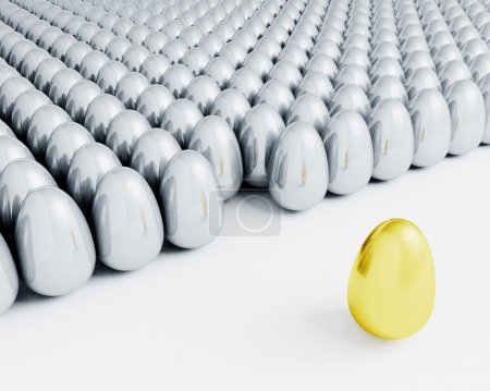 Photo for 3D render of one golden egg standing out from lots of silver eggs - Royalty Free Image
