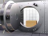 Bank vault with bullions