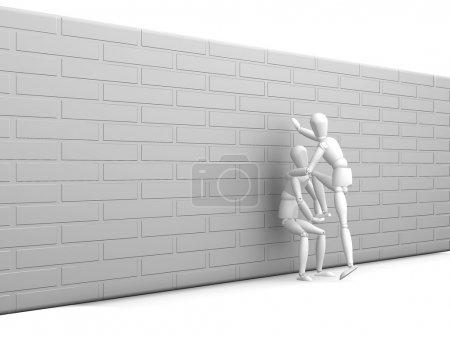 Photo pour Rendu 3D de quelqu'un qui reçoit un coup de main - image libre de droit