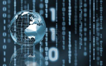 Photo pour Globe Wireframe sur fond de code binaire abstrait - image libre de droit