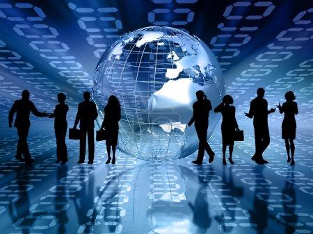 Photo pour Silhouettes de business sur fond abstrait code binaire - image libre de droit