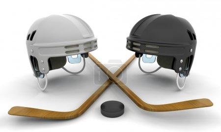 Foto de Render 3D de elementos del hockey sobre hielo - Imagen libre de derechos
