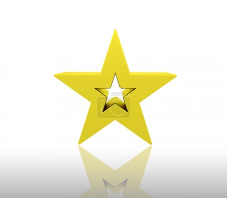 Photo for 3D render of a gold star - Royalty Free Image