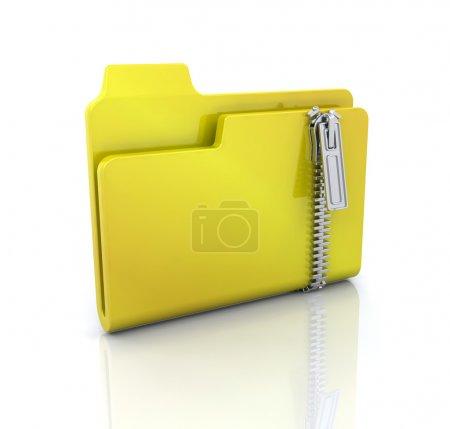 Photo pour Icône de l'ordinateur 3D pour dossier zippé - image libre de droit