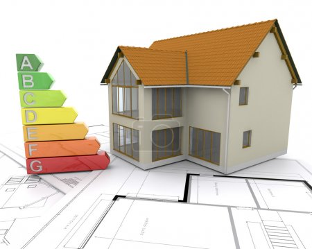 Photo for 3D House with energy ratings - Royalty Free Image