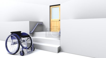 Wheelchair in front of steps to a door