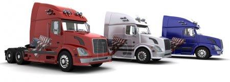 3 American semi-trucks with flag