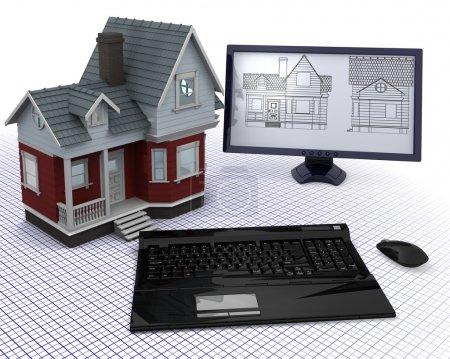 Photo pour Rendu 3D d'une maison en bois classique avec ordinateur et plans - image libre de droit