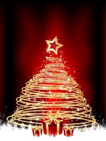 Foto de Metálico oro árbol de Navidad y regalos en un fondo Nevado - Imagen libre de derechos