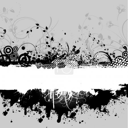 Photo for Abstract grunge background with floral design elements - Royalty Free Image