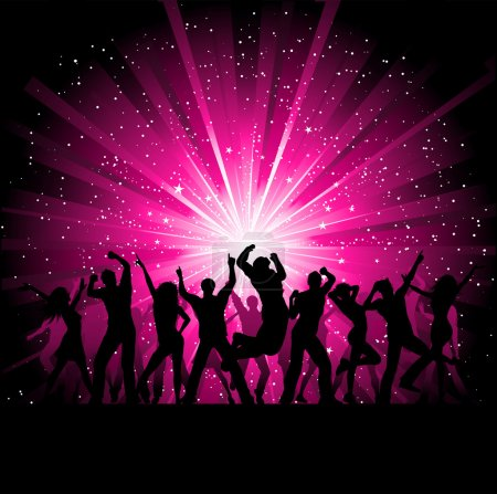 Photo for Silhoeuttes of dancing on a starburst background - Royalty Free Image
