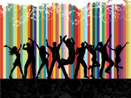 Photo pour Silhouettes de danse sur fond de grunge floral - image libre de droit