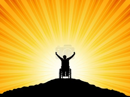 Photo for Silhouette of a man in a wheelchair with his arms raised in success - Royalty Free Image