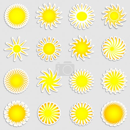 Photo pour Collection de divers autocollants forme soleil - image libre de droit