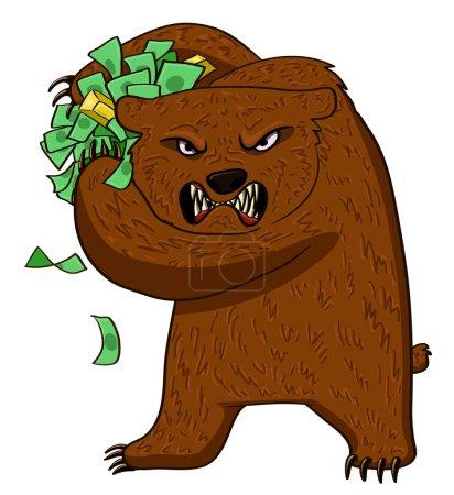 Illustration pour Ours très en colère tenant de l'argent et de l'or - image libre de droit