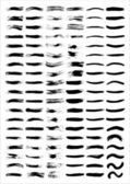 A set of vectorized grungy brush lines