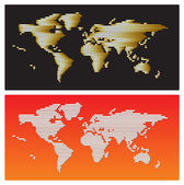 Vector - World map golden and white stripes